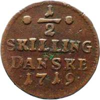 reverse of 1/2 Skilling Danske - Frederik IV (1719) coin with KM# 512 from Denmark. Inscription: ½ SKILLING DANSKE 1719.