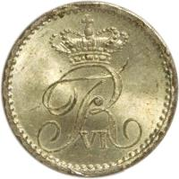 obverse of 2 Rigsbankskilling - Frederik VI (1836) coin with KM# 710 from Denmark. Inscription: FR VI