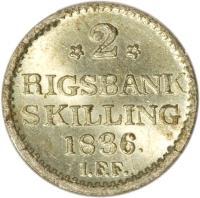 reverse of 2 Rigsbankskilling - Frederik VI (1836) coin with KM# 710 from Denmark. Inscription: *2* RIGSBANK SKILLING 1836. I.F.F.