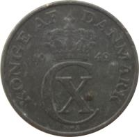 obverse of 5 Øre - Christian X (1942 - 1945) coin with KM# 834a from Denmark. Inscription: KONGE AF DANMARK 19 42