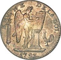 obverse of 6 Livres (1793) coin with KM# 624 from France. Inscription: REGNE DE LA LOI. CONSTI- TUTION Dupré 1793.