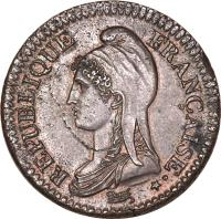 obverse of 2 Décimes (1795 - 1796) coin with KM# 638 from France. Inscription: REPUBLIQUE FRANÇAISE · *