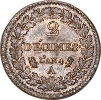 reverse of 2 Décimes (1795 - 1796) coin with KM# 638 from France. Inscription: 2 DÉCIMES L'AN 4 A