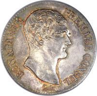 obverse of 5 Francs - Napoleon I (1802) coin with KM# 650 from France. Inscription: BONAPARTE PREMIER CONSUL. Tiolier