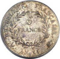 reverse of 5 Francs - Napoleon I (1802) coin with KM# 650 from France. Inscription: REPUBLIQUE FRANÇAISE. 5 FRANCS · . . AN XI. .A.