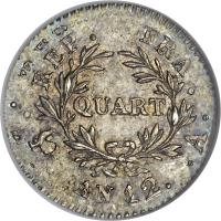 reverse of 1/4 Franc - Napoleon I (1803) coin with KM# 653 from France. Inscription: REP. FRA. QUART . . AN 12. .A.