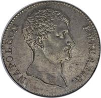 obverse of 5 Francs - Napoleon I (1803) coin with KM# 660 from France. Inscription: NAPOLEON EMPEREUR.