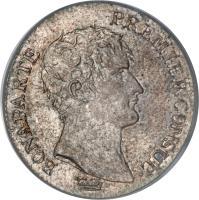 obverse of 1 Franc - Napoleon I (1802 - 1803) coin with KM# 649 from France. Inscription: BONAPARTE - PREMIER CONSUL