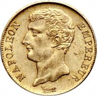 obverse of 20 Francs - Napoleon I (1802 - 1803) coin with KM# 661 from France. Inscription: NAPOLEON EMPEREUR.