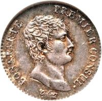 obverse of 1/2 Franc - Napoleon I (1802 - 1803) coin with KM# 648 from France. Inscription: BONAPARTE PREMIER CONSUL ·