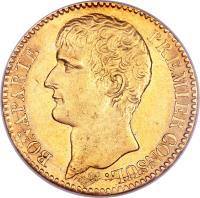 obverse of 40 Francs - Napoleon I (1802 - 1803) coin with KM# 652 from France. Inscription: BONAPARTE PREMIER CONSUL.