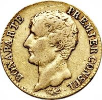 obverse of 20 Francs - Napoleon I (1802 - 1803) coin with KM# 651 from France. Inscription: BONAPARTE PREMIER CONSUL · Tiolier