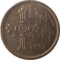obverse of 5 Pesetas - Juan Carlos I - Asturias (1995) coin with KM# 946 from Spain. Inscription: ESPAÑA 1995