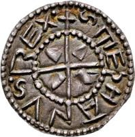 obverse of 1 Denar - István I (997 - 1038) coin with EH# 1 from Hungary. Inscription: STEPHANVS REX