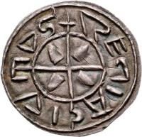 reverse of 1 Denar - István I (997 - 1038) coin with EH# 1 from Hungary. Inscription: REGIA CIVITAS