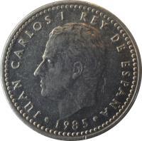 obverse of 1 Peseta - Juan Carlos I (1982 - 1989) coin with KM# 821 from Spain. Inscription: JUAN CARLOS I REY DE ESPAÑA 1988