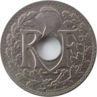 obverse of 10 Centimes (1917 - 1938) coin with KM# 866a from France. Inscription: R F EM LINDAUER
