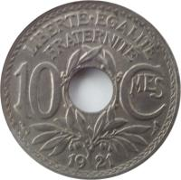 reverse of 10 Centimes (1917 - 1938) coin with KM# 866a from France. Inscription: LIBERTÉEGALITÉ FRATERNITÉ 10 CMES 1918