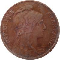 obverse of 5 Centimes (1897 - 1921) coin with KM# 842 from France. Inscription: REPUBLIQUE FRANÇAISE DANIEL-DUPUIS