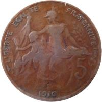 reverse of 5 Centimes (1897 - 1921) coin with KM# 842 from France. Inscription: LIBERTE EGALITE FRATERNITE 5 c DANIEL-DUPUIS 1917