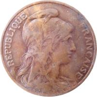 obverse of 10 Centimes (1897 - 1921) coin with KM# 843 from France. Inscription: REPUBLIQUE FRANÇAISE