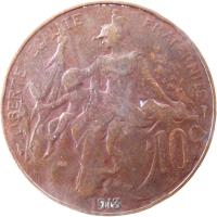 reverse of 10 Centimes (1897 - 1921) coin with KM# 843 from France. Inscription: LIBERTE EGALITE FRATERNITE 10c 1900