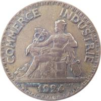 obverse of 2 Francs - Chambres de Commerce (1920 - 1927) coin with KM# 877 from France. Inscription: COMMERCE INDUSTRIE 1921 DOMARD INV