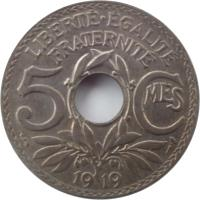 reverse of 5 Centimes (1914 - 1920) coin with KM# 865 from France. Inscription: LIBERTÉÉGALITÉ FRATERNITÉ 5CMES 1920