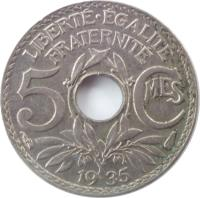 reverse of 5 Centimes (1920 - 1938) coin with KM# 875 from France. Inscription: LIBERTE · EGALITE FRATERNITE 5 CMES 19 35