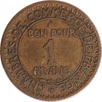 1 franc chambres de commerce 1920 1927 france km 876 coinsbook. Black Bedroom Furniture Sets. Home Design Ideas