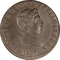 obverse of 40 Réis - Pedro IV (1826 - 1828) coin with KM# 373 from Portugal. Inscription: PETRUS IV D G PORTUG ET ALGARB REX 1826