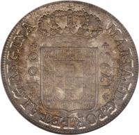 obverse of 480 Réis - Maria I (1786 - 1799) coin with KM# 288 from Portugal. Inscription: MARIA.I.D.G.PORT.ET.ALG.REGINA *400* / *1793*