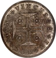 reverse of 480 Réis - Maria I (1786 - 1799) coin with KM# 288 from Portugal. Inscription: IN HOC SIGNO VINCES