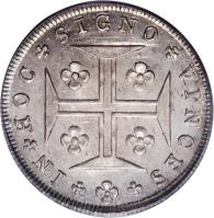 reverse of 240 Réis - Maria I (1793 - 1799) coin with KM# 307 from Portugal. Inscription: IN HOC SIGNO VINCES
