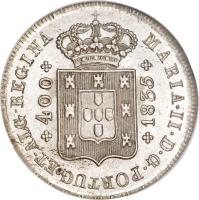 obverse of 400 Réis - Maria II (1833 - 1837) coin with KM# 403 from Portugal. Inscription: MARIA · II · D · G · PORTUG · ET · ALG · REGINA *400* *1835*