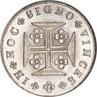 reverse of 400 Réis - Maria II (1833 - 1837) coin with KM# 403 from Portugal. Inscription: IN HOC SIGNO VINCES