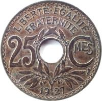 reverse of 25 Centimes (1917 - 1937) coin with KM# 867a from France. Inscription: LIBERTE · EGALITE FRATERNITE 25 CMES 1918