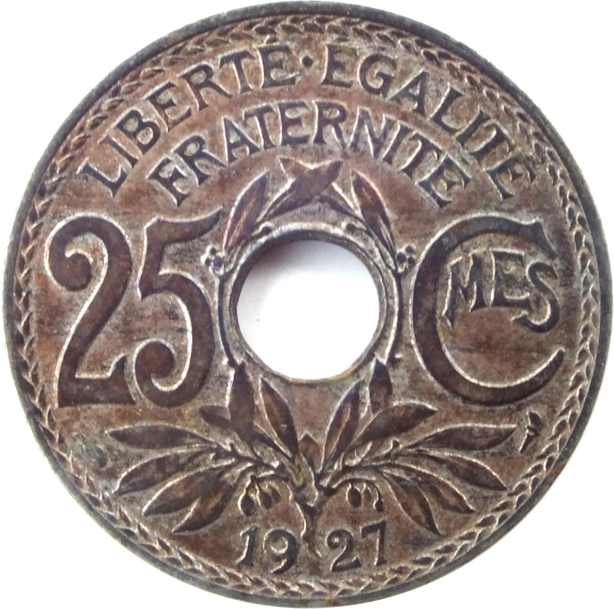 25 centimes  1917-1937  france km  867a