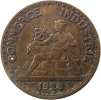 obverse of 50 Centimes - Chambres de Commerce (1920 - 1929) coin with KM# 884 from France. Inscription: COMMERCE INDUSTRIE 1922 DOMARD INV
