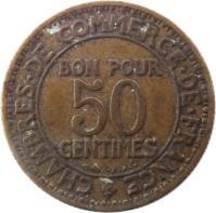 reverse of 50 Centimes - Chambres de Commerce (1920 - 1929) coin with KM# 884 from France. Inscription: CHAMBRES DE COMMERCE DE FRANCE BON POUR 50 CENTIMES BR AL
