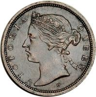 obverse of 1/2 Cent - Victoria (1872 - 1883) coin with KM# 8 from Straits Settlements. Inscription: VICTORIA QUEEN
