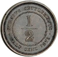 reverse of 1/2 Cent - Victoria (1872 - 1883) coin with KM# 8 from Straits Settlements. Inscription: STRAITS SETTLEMENTS 1/2 · HALF CENT 1872 ·