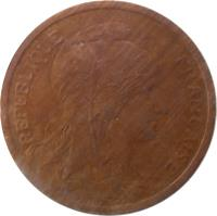 obverse of 2 Centimes (1898 - 1920) coin with KM# 841 from France. Inscription: REPUBLIQUE FRANÇAISE