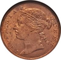 obverse of 1/2 Cent - Victoria (1889 - 1891) coin with KM# 15 from Straits Settlements. Inscription: VICTORIA QUEEN