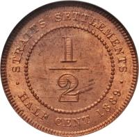 reverse of 1/2 Cent - Victoria (1889 - 1891) coin with KM# 15 from Straits Settlements. Inscription: STRAITS SETTLEMENTS 1/2 · HALF CENT 1889 ·