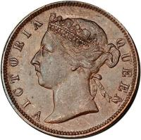 obverse of 1/2 Cent - Victoria (1884) coin with KM# 8a from Straits Settlements. Inscription: VICTORIA QUEEN