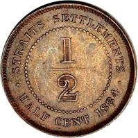 reverse of 1/2 Cent - Victoria (1884) coin with KM# 8a from Straits Settlements. Inscription: STRAITS SETTLEMENTS 1/2 · HALF CENT 1884 ·