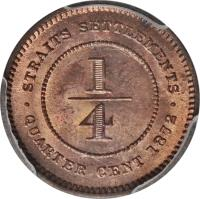 reverse of 1/4 Cent - Victoria (1872 - 1883) coin with KM# 7 from Straits Settlements. Inscription: · STRAITS SETTLEMENTS · 1 4 QUARTER CENT 1872