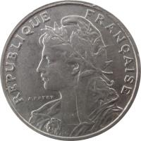 obverse of 25 Centimes (1903 - 1904) coin with KM# 855 from France. Inscription: RÉPUBLIQUE FRANÇAISE A.PATEY