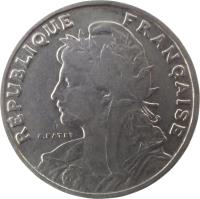 obverse of 25 Centimes (1904 - 1908) coin with KM# 856 from France. Inscription: RÉPUBLIQUE FRANÇAISE A.PATEY